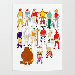 Fast Food Butts Mascots Poster