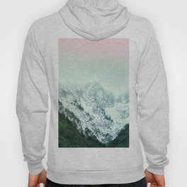 Snowy Winter Mountain Landscape with Alpenglow Hoody