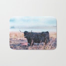 Black highlander cow watercolor painting Bath Mat