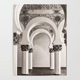 The Historic Arches in the Synagogue of Santa María la Blanca, Toledo Spain Poster