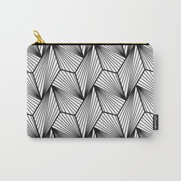 Industrial Urban Metallic Brushed Silver Gray Line Pattern Carry-All Pouch