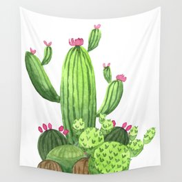 Green Cacti with Pink Flowers Wall Tapestry