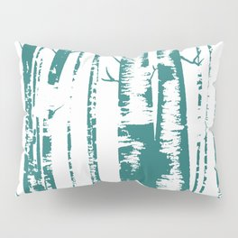 Old Growth Birch Forest in Blue Pillow Sham