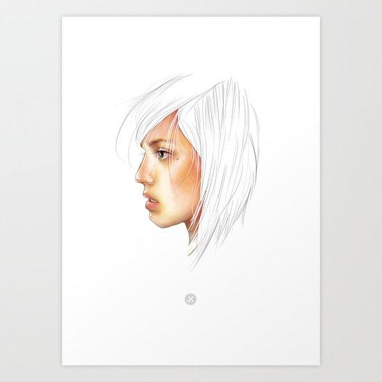 Coloured White Art Print