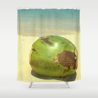 coconut wishes Shower Curtains featuring Coconut by Michael S.