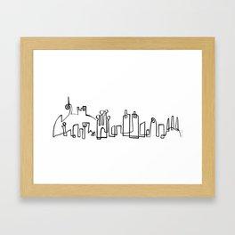 Barcelona Skyline in one draw Framed Art Print