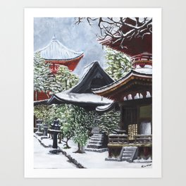 Temple in the Snow Art Print