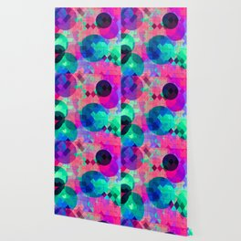 geometric square pixel and circle pattern abstract in pink blue green Wallpaper