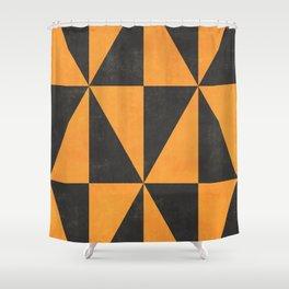 Geometric Triangle Pattern - Yellow, Gray Shower Curtain