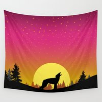 coyote Wall Tapestries featuring Coyote Moon by Julie Luke