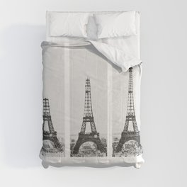 1888-1889 The Rise of the Eiffel Tower Construction Sequence black and white photography Comforters