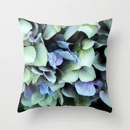 green and blue hydrangea Throw Pillow