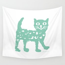 Mint cat drawing, cat drawing Wall Tapestry