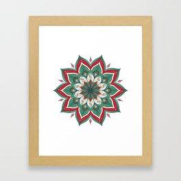 Mandala red green Framed Art Print