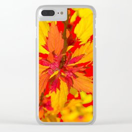 RED-YELLOW AUTUMN LEAVES ART PATTERN Clear iPhone Case