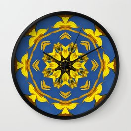 Yellow Coneflower, Ratibida, Kaleidoscope 793 #society6 #kaleidoscope Wall Clock