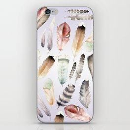 Watercolor feathers iPhone Skin