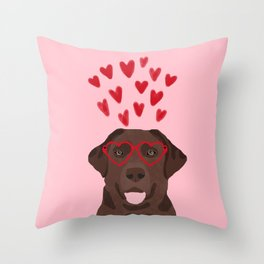 Chocolate Lab love heart glasses cute pet gifts valentines day labrador retriever Throw Pillow