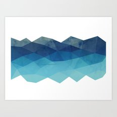 Fractal blue geometry Art Print