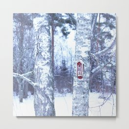 Red Bird House in Winter White Scene #decor #society6 #buyart Metal Print