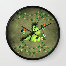 Happy st. patrick's day , cute little dragon Wall Clock