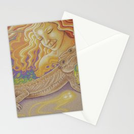 Sun And Dragon, Bearded Dragon Art Stationery Cards