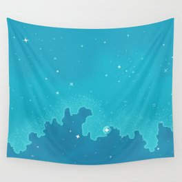 Aqua Pixel Skyscape Wall Tapestry