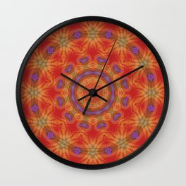 Red Mandala With Accents of Lilac and Gold Wall Clock