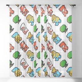 Final Fantasy   white   heroes pattern Sheer Curtain