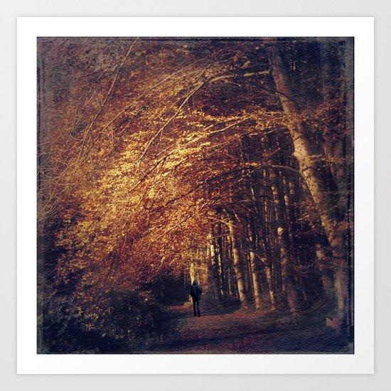 on a dark path Art Print