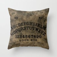 ouija Throw Pillows featuring Ouija by Andrea Raths