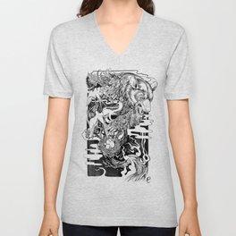 Bear- black and white - illustration Unisex V-Neck