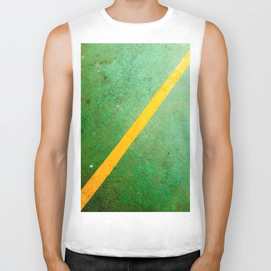 Diagonal Yellow Line Biker Tank