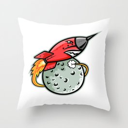 Rocket Launching Off Moon Mascot Throw Pillow