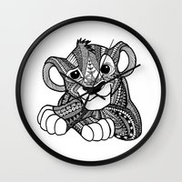simba Wall Clocks featuring Zentangle Simba by ElFineLines