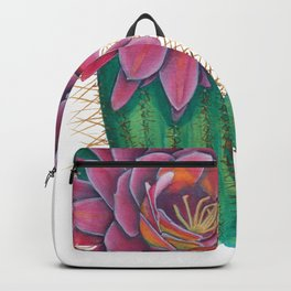 Crowned Cactus with Pink Flower Blossom Backpack