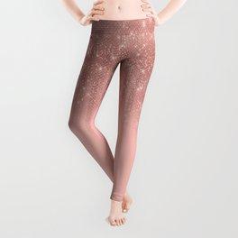 Glamorous Pink Rose Gold Glitter Striped Gradient Leggings