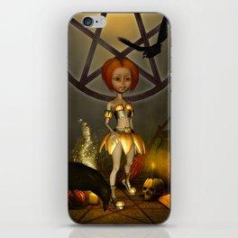 Halloween design with pumpkin,crow and little girl iPhone Skin