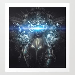 deity, woman suit made with reliefs and sculptures Art Print