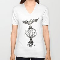 fly V-neck T-shirts featuring Fly  by Rafapasta