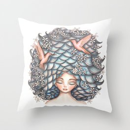 Claudette Head in the Clouds Throw Pillow
