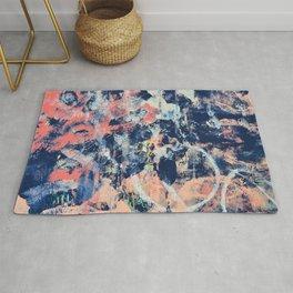 030.3: a vibrant abstract design in dark blue pink and peach by Alyssa Hamilton Art Rug