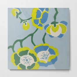 Japanese Flowers On Light Blue Background Metal Print