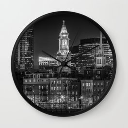 BOSTON Evening Skyline of North End & Financial District | Monochrome Wall Clock