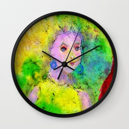 Green Hair Don't Care Wall Clock