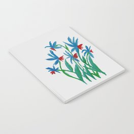 Hand painted watercolor floral blue and red flowers Notebook