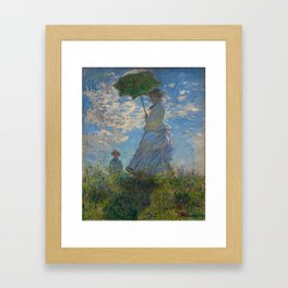 Claude Monet  -  Woman With A Parasol   Madame Monet And Her Son Framed Art Print