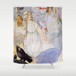 """Gerda and the Ravens"" Fairy Art by Anne Anderson Shower Curtain"