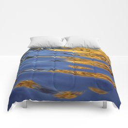 Blue and Gold Water Reflection Comforters