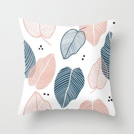 Leaves Pink And Blue - Mid Century Pattern Throw Pillow